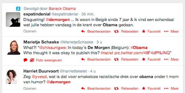 Reacties Twitter racistische satire Obama
